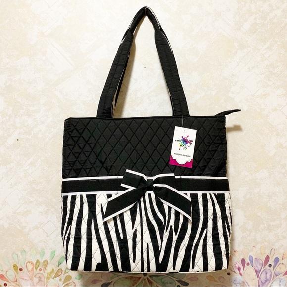 mélange posh Handbags - Large Quilted Zebra Stripe 3pc Diaper Bag